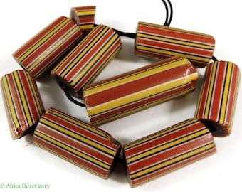 9 Striped Greenhearts Venetian Trade Beads Africa 99622