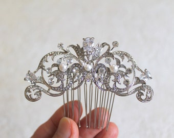 Bridal Swarovski Crystal Pearl Leaf Vine Hair comb. Rhinestone Jewel Flower Wedding Headpiece. JEWEL LEAF