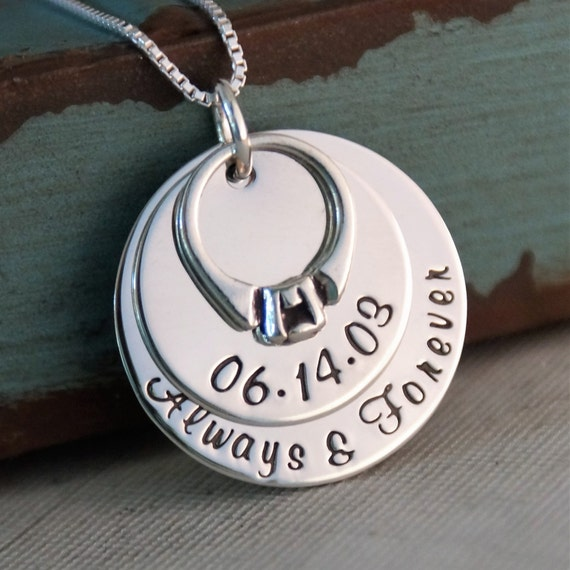 Anniversary Necklace / Hand Stamped Personalized Sterling Silver Jewelry / My Anniversary Deluxe