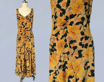 1930s Dress / 30s Yellow and Black Floral Deco Gown / Garden Party / Scoop Back