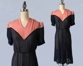 1930s Dress / 30s Sheer Navy and Pink Dress / Early 40s 1940s / M L