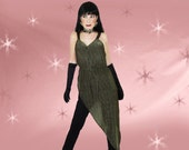 Vintage 70s Disco Jumpsuit - Dance Fever Costume - Gold Mesh Drape