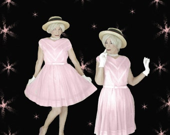 1950s Pink Dress & Belt -  Vintage Sleeveless Cotton Voile - 50s Full Skirt Cupcake Style Dress
