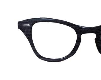 Vintage Cateye Eyeglasses - 1940s Unique Grey Pattern - 40s Cateyes by B&L