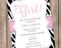 Pink and purple baby shower invitation, it's a girl baby shower invitation, baby shower invitation, zebra print invitation, diva baby shower