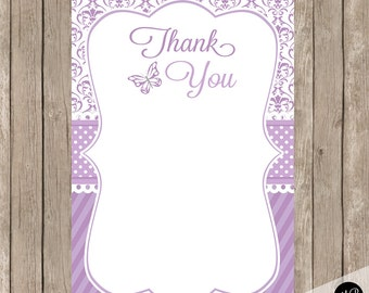Butterfly thank you note, Damask Purple Thank You Note with Butterfly, 4x6 Flat Thank You Note Cards-  INSTANT DOWNLOAD DB01