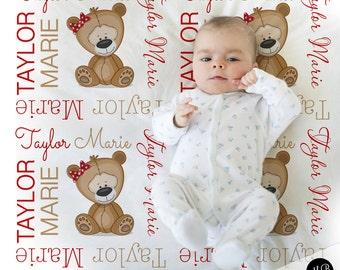 Teddy Bear Name Blanket, Bear personalized blanket, custom blanket for girl, baby blanket, personalized blanket, choose colors