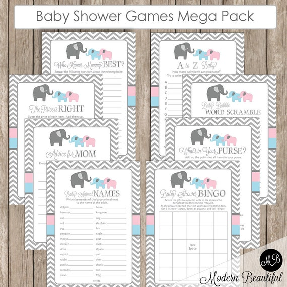 baby shower game pack twins blue and pink elephant baby shower