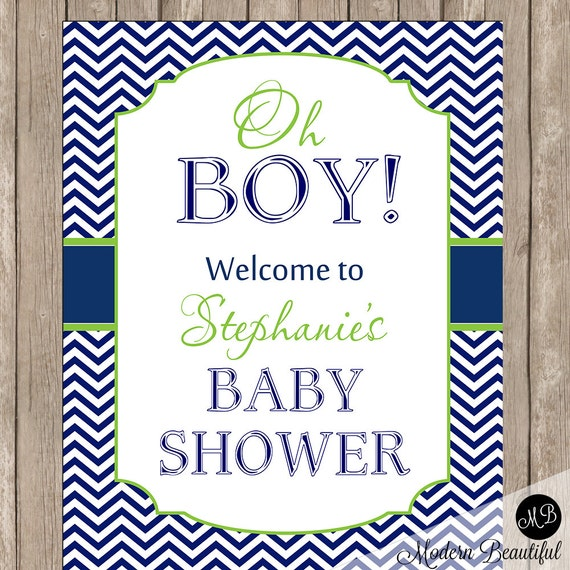baby shower welcome sign in lime and navy welcome sign baby shower