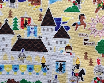 Push the pin fabric castle Japanese cotton fabric