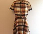 SALE Vintage 1960s 1970s Mod Plaid Dress  Set 60s 70s Bolero Jacket Seer Sucker