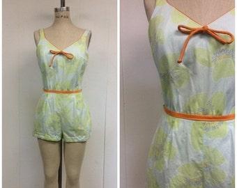 SALE 1960s Bathing Suit 60s Elizabeth Stuart Romper Sun Playsuit