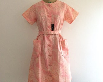 1950s 1960s Pink Paisley Dress 50s 60s NOS NWT Penneys