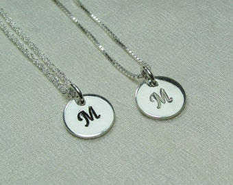 Bridesmaid Jewelry Set of 4 Personalized Bridesmaid Gift Sterling Silver Initial Necklace Bridesmaid Necklace Monogram Necklace Gifts