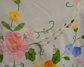 Vintage White Handmade Table Cloth with Aplique Flowers - unfinished