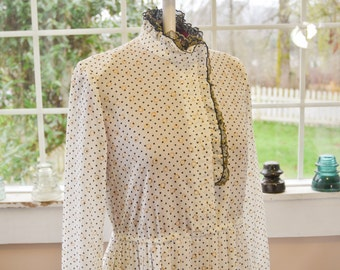 Vintage White, Black and Gold Poka Dot Dress - L