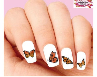 Waterslide Nail Decals Set of 20 - Monarch Butterfly Assorted