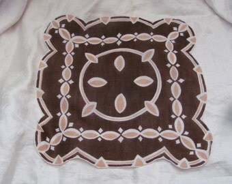 Beautiful Retro Brown Cotton Hankie Handkerchief