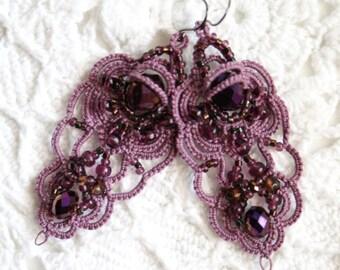 Lavender Crystals Czech Glass Beads Tatting Fiber Chandelier Style Earrings