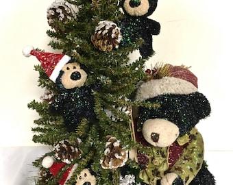 "Table Top Tree & Black Bear Family Winter Christmas Arrangement  Pine Tree Centerpiece TALL (16""h X 13""w X 8'd)"