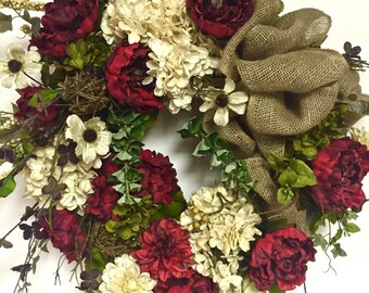 "Elegant Silk Floral FALL All Season Wreath  Peony Hydrangea Garden Variety XL 27""x36"" Red Ivory & Sage Green Indoor Outdoor"