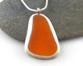 Ultra Rare Sea Glass Necklace, Sterling Silver Bezel Set Pendant, Bright Orange Sea Glass ARISHA, Rare Sea Glass, Sea Glass Pendant,