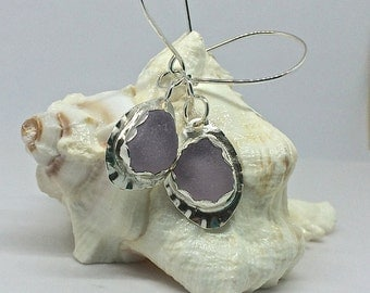 Earrings Sea Glass Earrings Amethyst Argentium Sterling Silver Jewelry 935