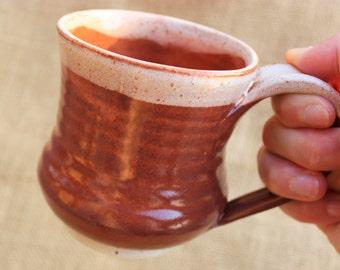 Small wheel thrown stoneware coffee or tea mug, 10 oz, ready to ship