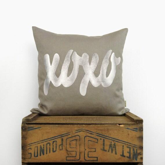 Personalized metallic ilver XOXO word decorative pillow case | Text applique, taupe linen monogram throw pillows | 18x18 cushion cover