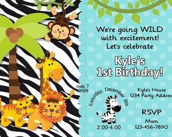 Jungle Invitation Birthday Party Baby Shower Invites Boys Jungle Photo Option Digital JPEG File #7