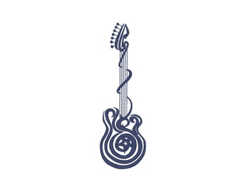 Rock Guitar  -  machine embroidery designs / size  5x7 / file INSTANT DOWNLOAD