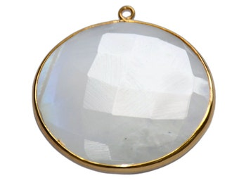 AAA Quality of Rainbow Moonstone  Faceted Briolette , Gold Plated Round Connectors (Pendant) Stone Size 35mm by 35mm.