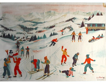 Hélène Poirié - Vintage french pull down chart, 1950 educational map,Mountains under snow, print industrial look pull down