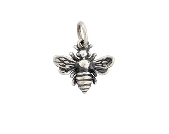 Honey Bee Bumble Bee 14x12mm Sterling Silver Charm with soldered jump ring - 1pc 20% discounted (2852)/1