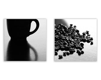 Coffee Photo Collection - coffee art, kitchen decor, home decor, black and white coffee prints - Set of Two Fine Art Photographs