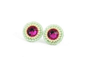 Mint stud earrings   fuchsia stud earrings   mint fuchsia purple beach wedding bridal earrings   unique bridesmaid earrings   gift for her