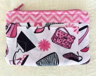 Wallet Coin Purse Card Carrier Pink Shoes Purses Chevron Fabric