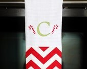 Christmas  Kitchen Towel or Hand Towel - Red Chevron