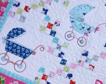 Sassy Strollers Baby Girl Quilt KIT Featuring Strawberry Biscuit By Elea Lutz