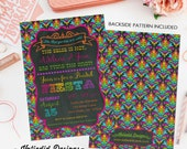 fiesta invitation couples shower damask mexican chalkboard rehearsal dinner engagement invitation party bash item 325 shabby chic invitation