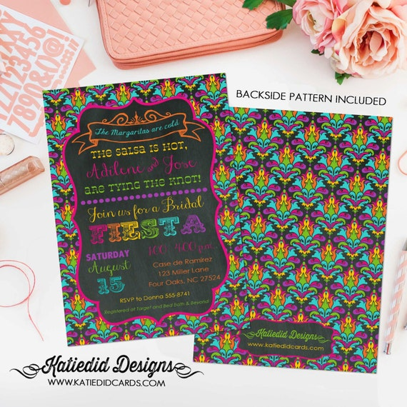 Fiesta bridal shower invitation Couples Bridal Invitation gay day of the dead cinco de mayo I do BBQ engagement party 325 Katiedid Cards
