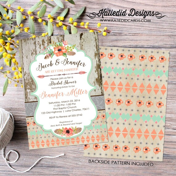 Couples Bridal Invitation mint coral invite boho tribal bridal shower Rehearsal Dinner floral wood rustic chic co-ed 1445 Katiedid Designs