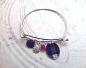 Scottish Tartan Bangle Bracelet with Celtic Knot and Birthstone, Highland Dance, Scotland Jewelry Purple, Blue and Red