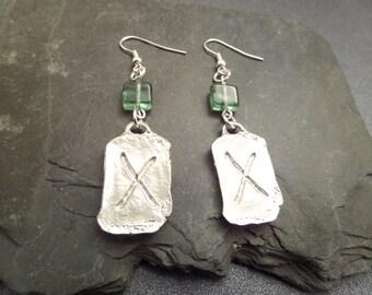 Viking Rune Earrings, Love Rune, Silver tone Metal and Green Glass Beads, Norse Jewelry