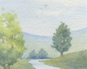 Original watercolor ACEO painting - Slow flow