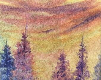 Original ACEO watercolor painting - Hazy pines