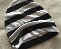 Black and White Stripes Slouchy Beanie Skull Cap Baby Toddler Boys Girls unisex Single Layer hat 3/6 6/12 12/18 24 months 2/4 years 2t 3t 4t