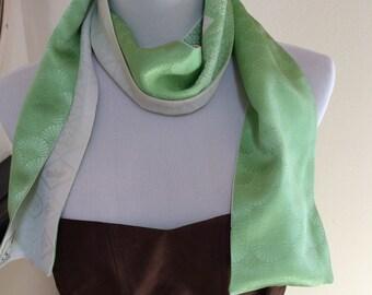 Vintage shibori Spring Green Silk and Ivory Scarf