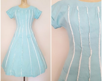 Vintage 1950s Dress / Aqua Blue Cotton Dress / Ruffled Lace Trim / SMALL