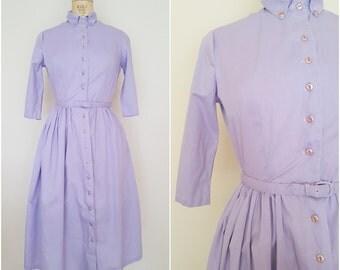 Vintage 1950s Shirtwaist Dress / Purple Cotton Day Dress / 3/4 Sleeve / Small Medium